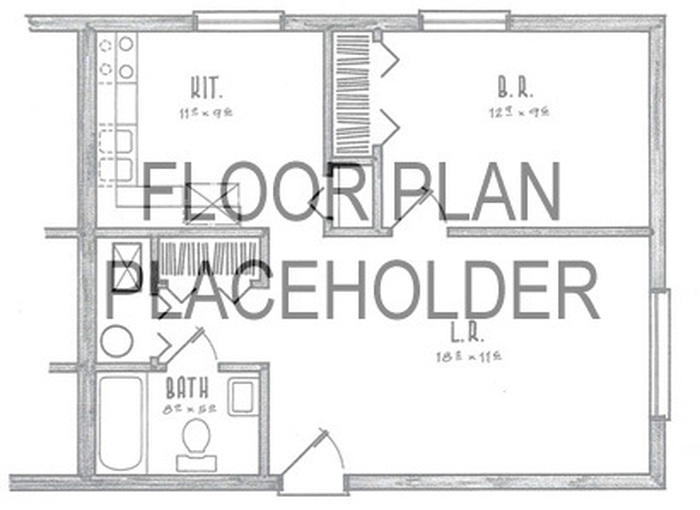 2 Bedroom / 1 Bath Floor Plan Image